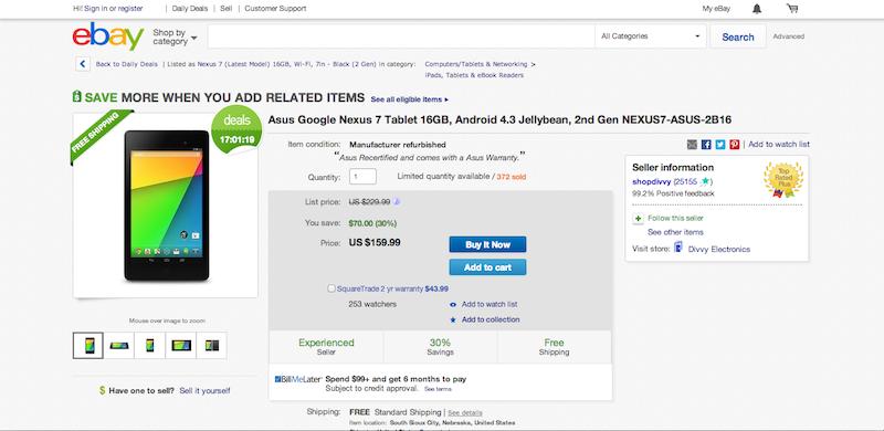 eBay Nexus 7 Deal