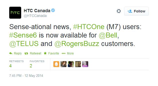 HTC Sense 6 M7 Canada