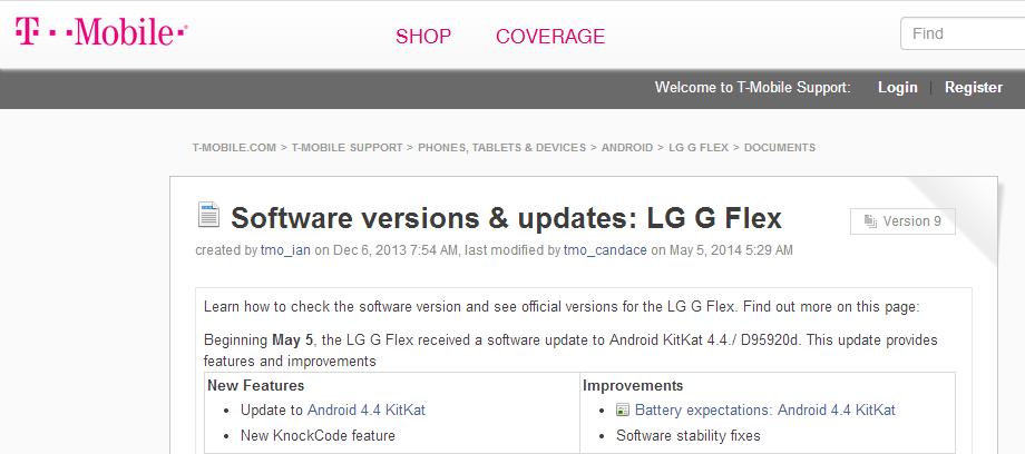 T-Mobiel LG G Flex KitKat
